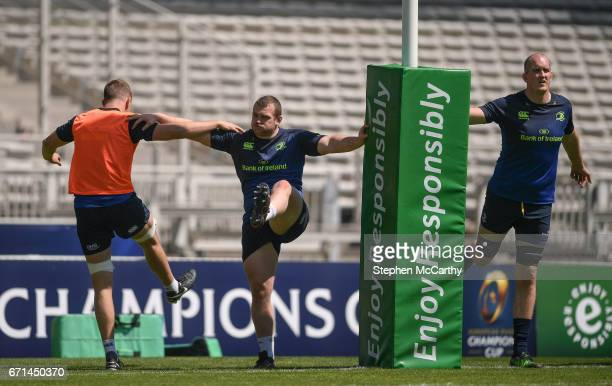 Lyon France 22 April 2017 Leinster players from left Ross Molony Jack McGrath and Devin Toner during their captain's run at the Matmut Stadium de...