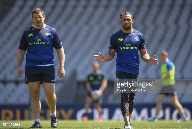 Lyon France 22 April 2017 Mike Ross left and Isa Nacewa of Leinster during their captain's run at the Matmut Stadium de Gerland in Lyon France