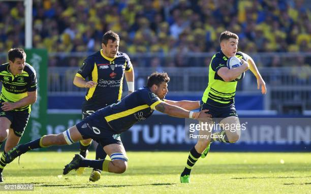 Lyon France 23 April 2017 Garry Ringrose of Leinster beats the tackle by Damien Chouly of ASM Clermont Auvergne on his way to scoring his side's...