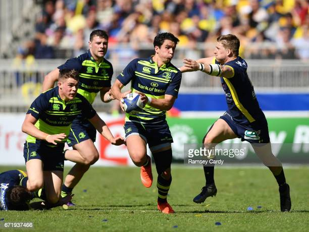 Lyon France 23 April 2017 Joey Carbery of Leinster is tackled by David Strettle of ASM Clermont Auvergne during the European Rugby Champions Cup...