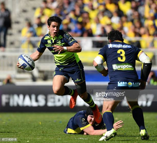 Lyon France 23 April 2017 Joey Carbery of Leinster is tackled by Arthur Iturria of ASM Clermont Auvergne during the European Rugby Champions Cup...