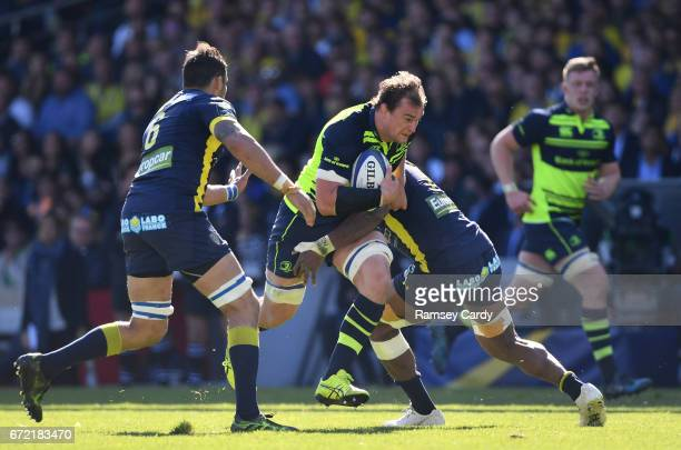 Lyon France 23 April 2017 Rhys Ruddock of Leinster is tackled by Damien Chouly of ASM Clermont Auvergne during the European Rugby Champions Cup...