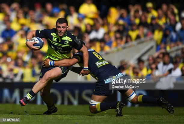 Lyon France 23 April 2017 Robbie Henshaw of Leinster is tackled by Damien Chouly of ASM Clermont Auvergne during the European Rugby Champions Cup...