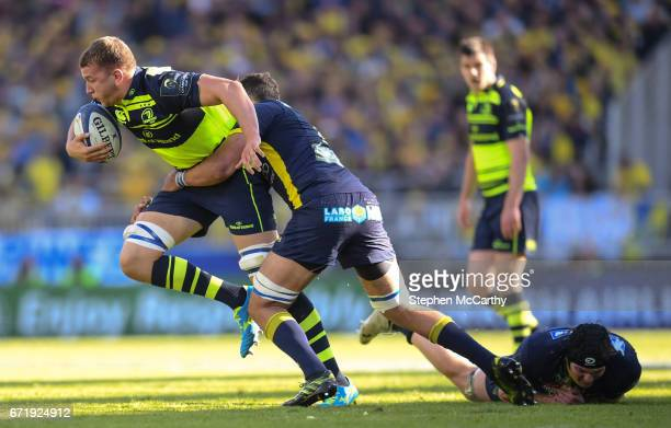 Lyon France 23 April 2017 Ross Molony of Leinster is tackled by Damien Chouly of ASM Clermont Auvergne during the European Rugby Champions Cup...