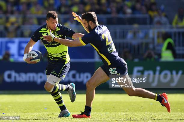 Lyon France 23 April 2017 Zane Kirchner of Leinster in action against Damien Penaud of ASM Clermont Auvergne during the European Rugby Champions Cup...
