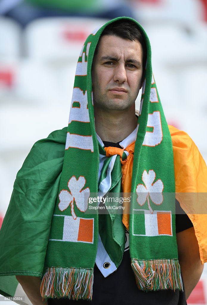 Lyon , France - 26 June 2016; A dejected Republic of Ireland supporter after defeat in the UEFA Euro 2016 Round of 16 match between France and Republic of Ireland at Stade des Lumieres in Lyon, France.