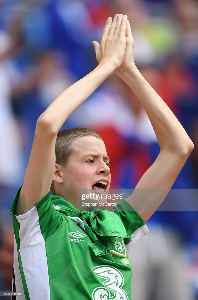 Lyon , France - 26 June 2016; A Republic of Ireland supporter ahead of the UEFA Euro 2016 Round of 16 match between France and Republic of Ireland at Stade des Lumieres in Lyon, France.