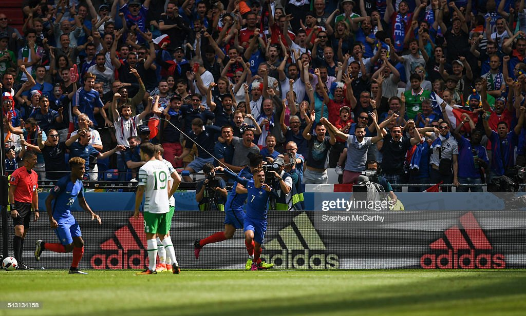 Lyon , France - 26 June 2016; Antoine Griezmann of France celebrates after scoring his side's first goal of the game during the UEFA Euro 2016 Round of 16 match between France and Republic of Ireland at Stade des Lumieres in Lyon, France.