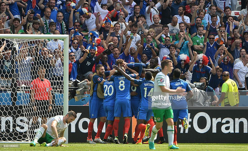 Lyon , France - 26 June 2016; <a gi-track='captionPersonalityLinkClicked' href=/galleries/search?phrase=Antoine+Griezmann&family=editorial&specificpeople=7197539 ng-click='$event.stopPropagation()'>Antoine Griezmann</a> of France clebrates with his team mates after scoring his side's second goal in the UEFA Euro 2016 Round of 16 match between France and Republic of Ireland at Stade des Lumieres in Lyon, France.