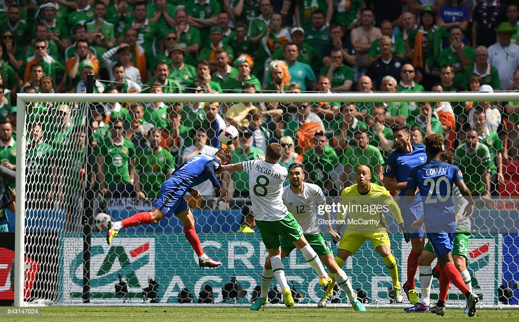 Lyon , France - 26 June 2016; <a gi-track='captionPersonalityLinkClicked' href=/galleries/search?phrase=Antoine+Griezmann&family=editorial&specificpeople=7197539 ng-click='$event.stopPropagation()'>Antoine Griezmann</a> of France scores his side's first goal of the game during the UEFA Euro 2016 Round of 16 match between France and Republic of Ireland at Stade des Lumieres in Lyon, France.