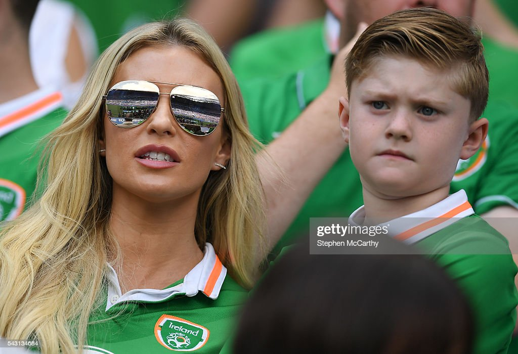 Lyon , France - 26 June 2016; Claudine Keane with her son Robert ahead of the UEFA Euro 2016 Round of 16 match between France and Republic of Ireland at Stade des Lumieres in Lyon, France.