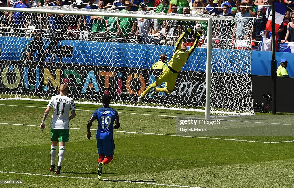 Lyon , France - 26 June 2016; <a gi-track='captionPersonalityLinkClicked' href=/galleries/search?phrase=Darren+Randolph&family=editorial&specificpeople=3947785 ng-click='$event.stopPropagation()'>Darren Randolph</a> of Republic of Ireland saves a free kick during the UEFA Euro 2016 Round of 16 match between France and Republic of Ireland at Stade des Lumieres in Lyon, France.