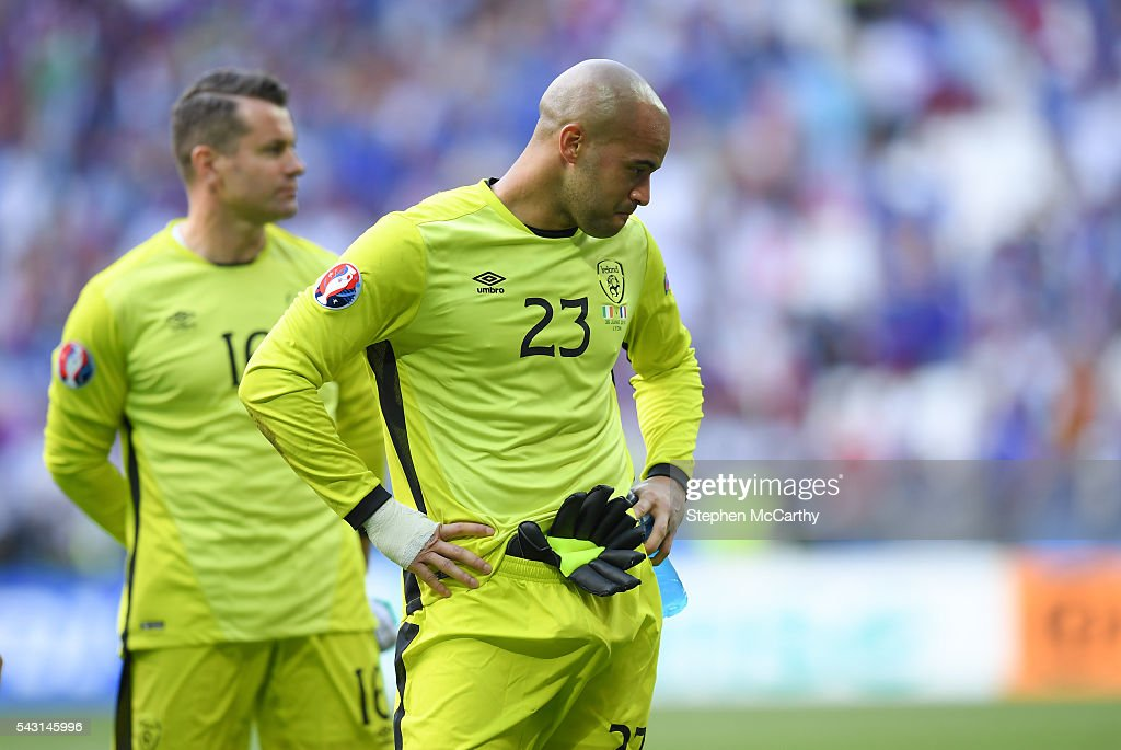 Lyon , France - 26 June 2016; <a gi-track='captionPersonalityLinkClicked' href=/galleries/search?phrase=Darren+Randolph&family=editorial&specificpeople=3947785 ng-click='$event.stopPropagation()'>Darren Randolph</a> of Republic of Ireland following the UEFA Euro 2016 Round of 16 match between France and Republic of Ireland at Stade des Lumieres in Lyon, France.