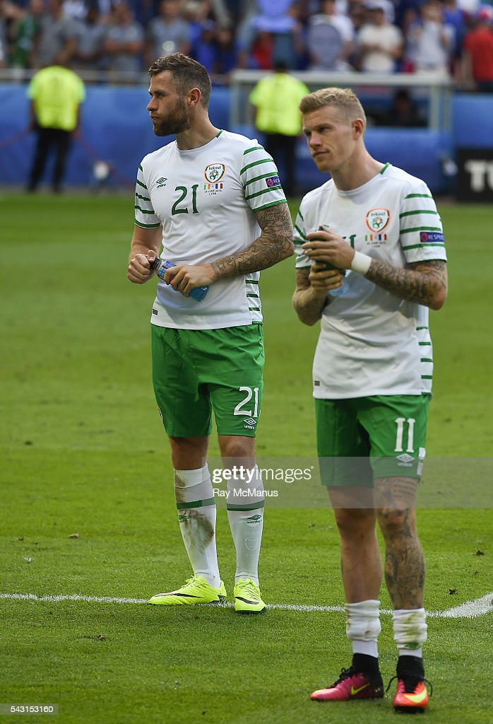 Lyon , France - 26 June 2016; <a gi-track='captionPersonalityLinkClicked' href=/galleries/search?phrase=Daryl+Murphy&family=editorial&specificpeople=658367 ng-click='$event.stopPropagation()'>Daryl Murphy</a>, right, and <a gi-track='captionPersonalityLinkClicked' href=/galleries/search?phrase=James+McClean&family=editorial&specificpeople=3699424 ng-click='$event.stopPropagation()'>James McClean</a> of Republic of Ireland after defeat to France in the UEFA Euro 2016 Round of 16 match between France and Republic of Ireland at Stade des Lumieres in Lyon, France.