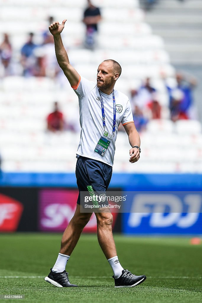 Lyon , France - 26 June 2016; <a gi-track='captionPersonalityLinkClicked' href=/galleries/search?phrase=David+Meyler&family=editorial&specificpeople=5472116 ng-click='$event.stopPropagation()'>David Meyler</a> of Republic of Ireland ahead of the UEFA Euro 2016 Round of 16 match between France and Republic of Ireland at Stade des Lumieres in Lyon, France.