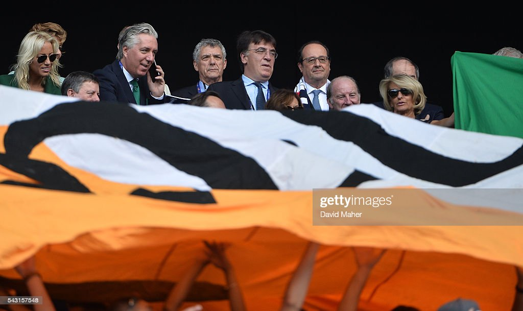 Lyon , France - 26 June 2016; FAI chief executive John Delaney alongside French President François Hollande, right, before the start of the UEFA Euro 2016 Round of 16 match between France and Republic of Ireland at Stade des Lumieres in Lyon, France.