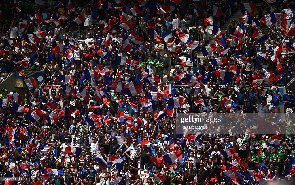Lyon , France - 26 June 2016; French supporters before the UEFA Euro 2016 Round of 16 match between France and Republic of Ireland at Stade des Lumieres in Lyon, France.