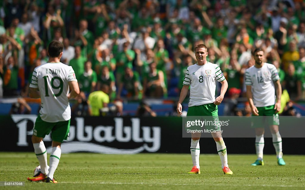 Lyon , France - 26 June 2016; James McCarthy of Republic of Ireland reacts after his side conceded their second goal during the UEFA Euro 2016 Round of 16 match between France and Republic of Ireland at Stade des Lumieres in Lyon, France.