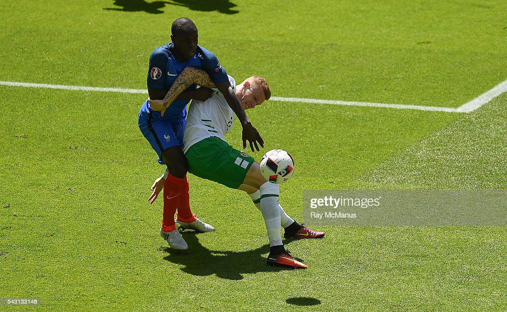 Lyon , France - 26 June 2016; James McClean of Republic of Ireland being tackled by N'Golo Kanté of France during the UEFA Euro 2016 Round of 16 match between France and Republic of Ireland at Stade des Lumieres in Lyon, France.