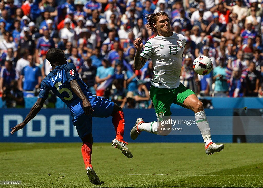 Lyon , France - 26 June 2016; <a gi-track='captionPersonalityLinkClicked' href=/galleries/search?phrase=Jeff+Hendrick+-+Soccer+Player&family=editorial&specificpeople=15923342 ng-click='$event.stopPropagation()'>Jeff Hendrick</a> of Republic of Ireland in action against N'Golo Kanté of France during the UEFA Euro 2016 Round of 16 match between France and Republic of Ireland at Stade des Lumieres in Lyon, France.