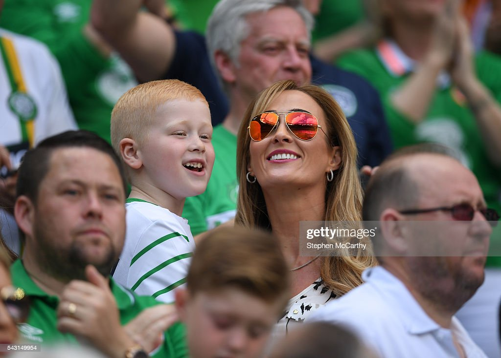 Lyon , France - 26 June 2016; Karen Whelan, wife of Republic of Ireland's Glenn Whelan, watches on during the UEFA Euro 2016 Round of 16 match between France and Republic of Ireland at Stade des Lumieres in Lyon, France.