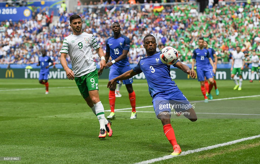 Lyon , France - 26 June 2016; <a gi-track='captionPersonalityLinkClicked' href=/galleries/search?phrase=Patrice+Evra&family=editorial&specificpeople=714865 ng-click='$event.stopPropagation()'>Patrice Evra</a> of France during the UEFA Euro 2016 Round of 16 match between France and Republic of Ireland at Stade des Lumieres in Lyon, France.
