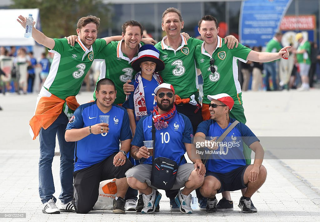 Lyon , France - 26 June 2016; Republic of Ireland and France supporters ahead of the UEFA Euro 2016 Round of 16 match between France and Republic of Ireland at Stade des Lumieres in Lyon, France.