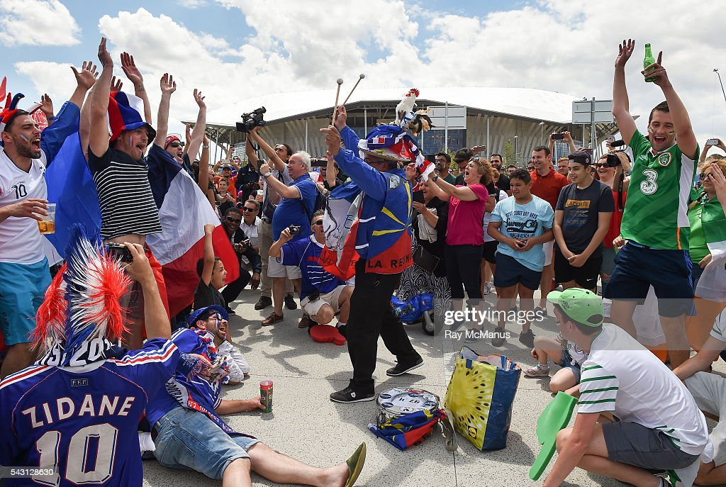 Lyon , France - 26 June 2016; Republic of Ireland and French fans ahead of the UEFA Euro 2016 Round of 16 match between France and Republic of Ireland at Stade des Lumieres in Lyon, France.