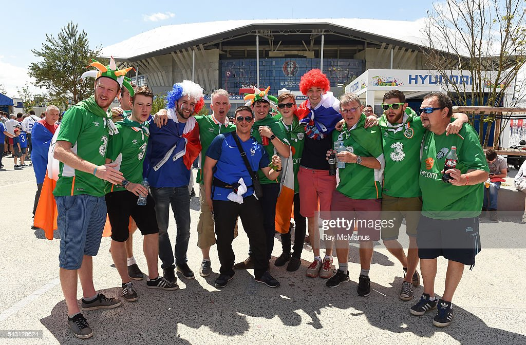 Lyon , France - 26 June 2016; Republic of Ireland and French supporters ahead of the UEFA Euro 2016 Round of 16 match between France and Republic of Ireland at Stade des Lumieres in Lyon, France.