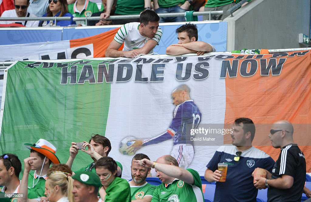 Lyon , France - 26 June 2016; Republic of Ireland fans ahead of the UEFA Euro 2016 Round of 16 match between France and Republic of Ireland at Stade des Lumieres in Lyon, France.