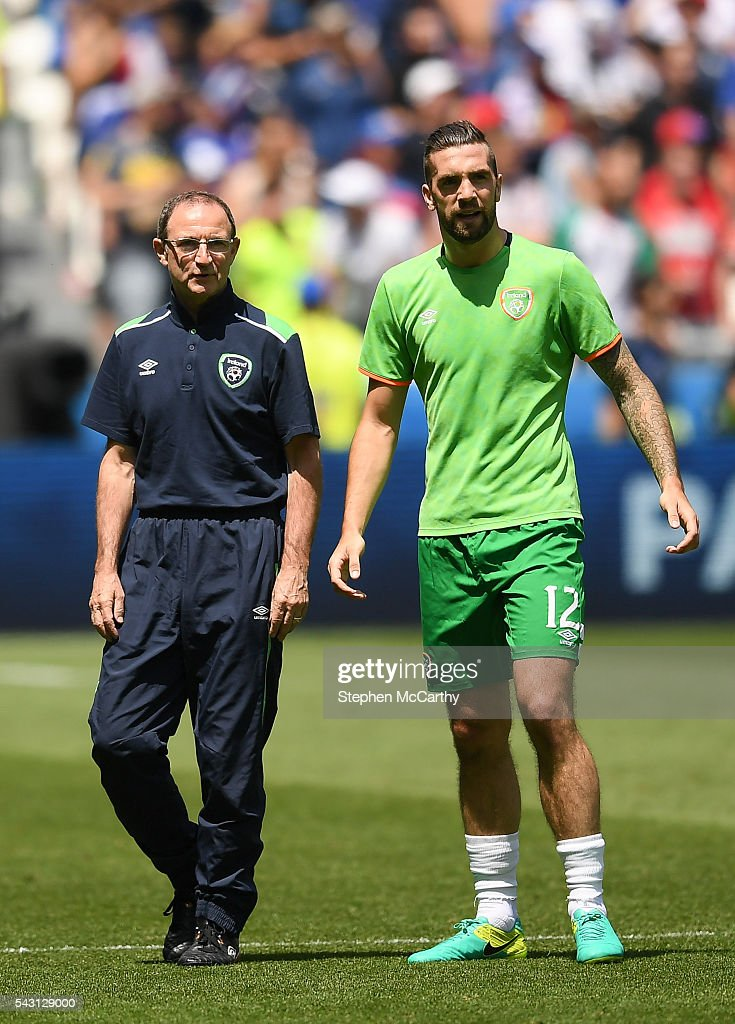 Lyon , France - 26 June 2016; Republic of Ireland manager <a gi-track='captionPersonalityLinkClicked' href=/galleries/search?phrase=Martin+O%27Neill&family=editorial&specificpeople=201190 ng-click='$event.stopPropagation()'>Martin O'Neill</a> and Shane Duffy ahead of the UEFA Euro 2016 Round of 16 match between France and Republic of Ireland at Stade des Lumieres in Lyon, France.