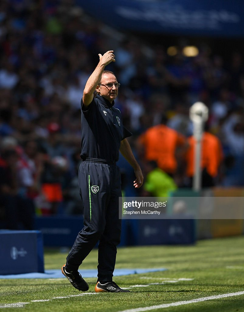 Lyon , France - 26 June 2016; Republic of Ireland manager <a gi-track='captionPersonalityLinkClicked' href=/galleries/search?phrase=Martin+O%27Neill&family=editorial&specificpeople=201190 ng-click='$event.stopPropagation()'>Martin O'Neill</a> during the UEFA Euro 2016 Round of 16 match between France and Republic of Ireland at Stade des Lumieres in Lyon, France.