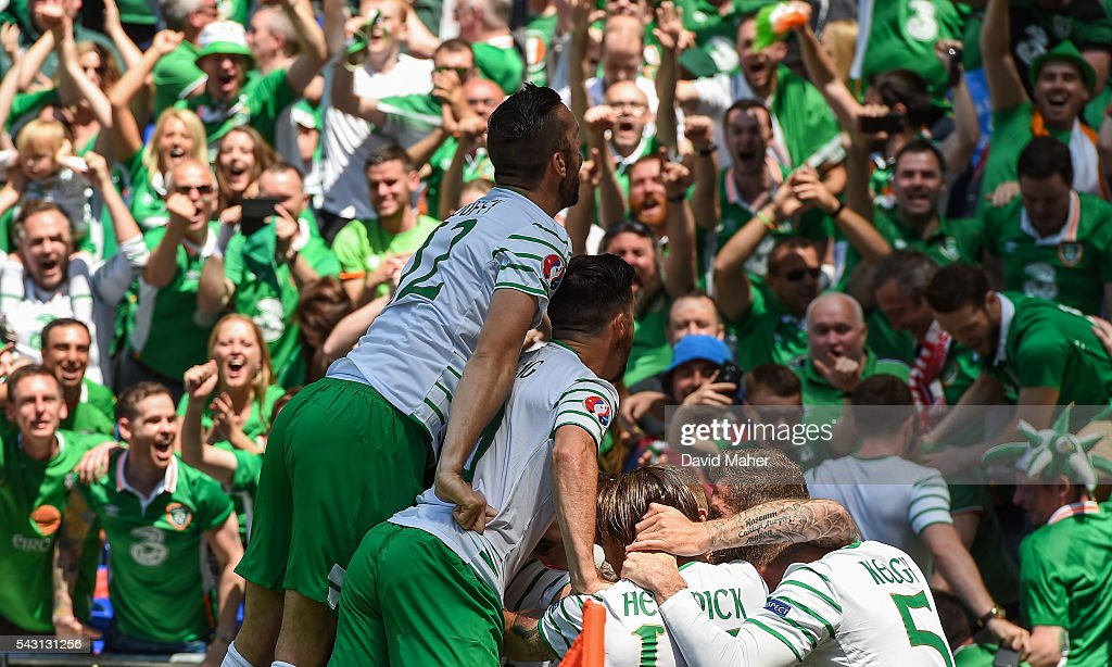 Lyon , France - 26 June 2016; Republic of Ireland players celebrate their first goal during the UEFA Euro 2016 Round of 16 match between France and Republic of Ireland at Stade des Lumieres in Lyon, France.