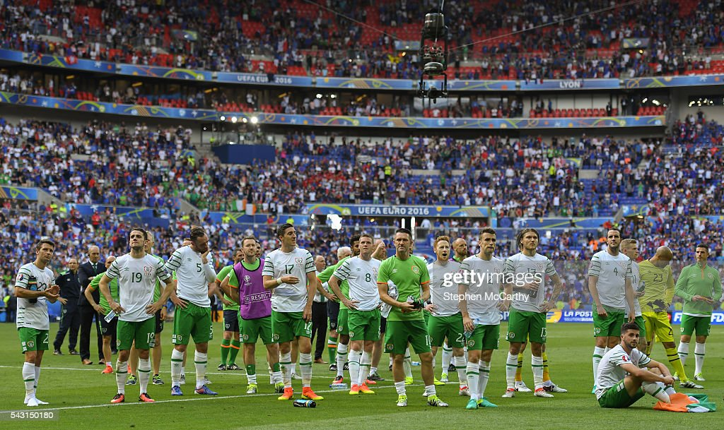 Lyon , France - 26 June 2016; Republic of Ireland players following the UEFA Euro 2016 Round of 16 match between France and Republic of Ireland at Stade des Lumieres in Lyon, France.