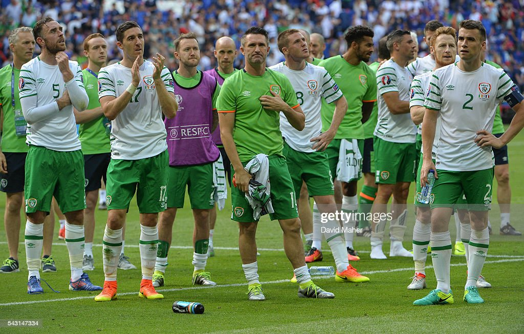 Lyon , France - 26 June 2016; Republic of Ireland players following their defeat in the UEFA Euro 2016 Round of 16 match between France and Republic of Ireland at Stade des Lumieres in Lyon, France.