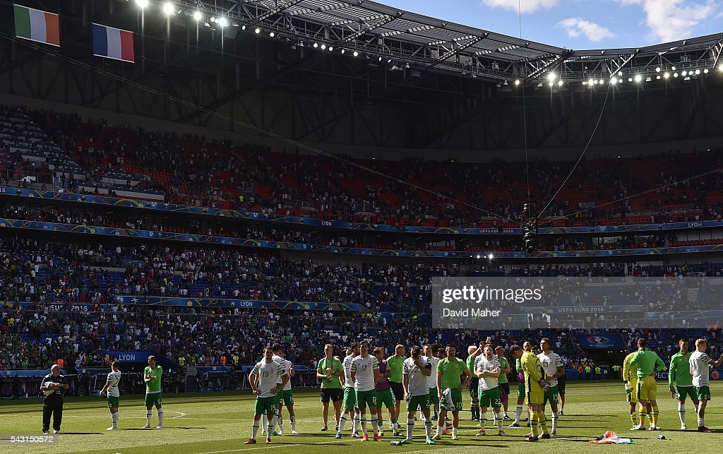 Lyon , France - 26 June 2016; Republic of Ireland players looking dejected on the pitch after defeat to France in the UEFA Euro 2016 Round of 16 match between France and Republic of Ireland at Stade des Lumieres in Lyon, France.