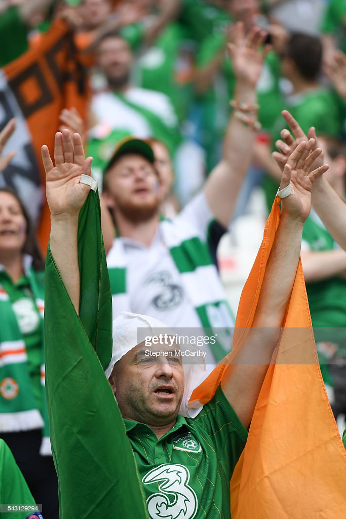 Lyon , France - 26 June 2016; Republic of Ireland supporters ahead of the UEFA Euro 2016 Round of 16 match between France and Republic of Ireland at Stade des Lumieres in Lyon, France.