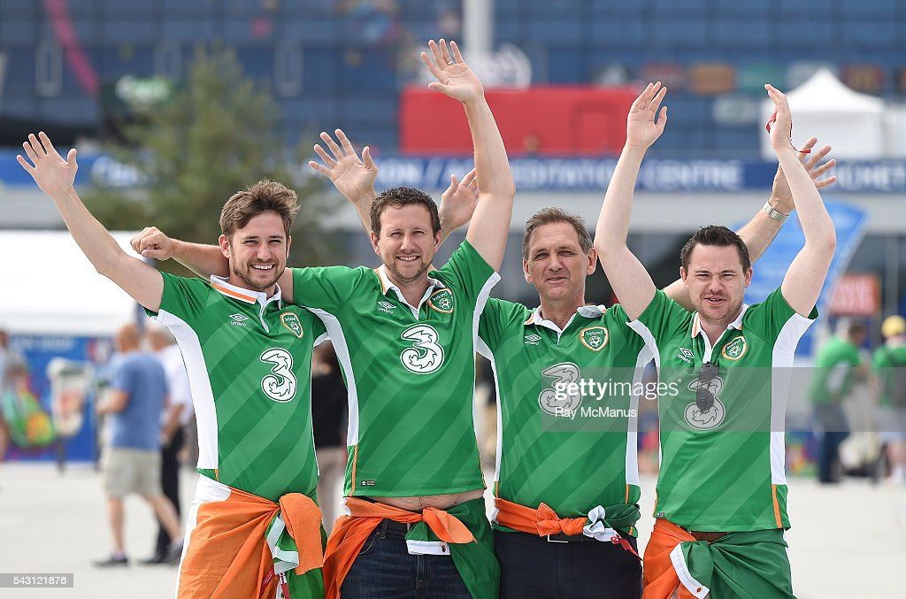 Lyon , France - 26 June 2016; Republic of Ireland supporters Keith, Richard and Gerard Egan, from Dún Laoghaire, with their friend Michael Toohey from Neenagh, Co. Tipperary, ahead of the UEFA Euro 2016 Round of 16 match between France and Republic of Ireland at Stade des Lumieres in Lyon, France. via Getty Images)