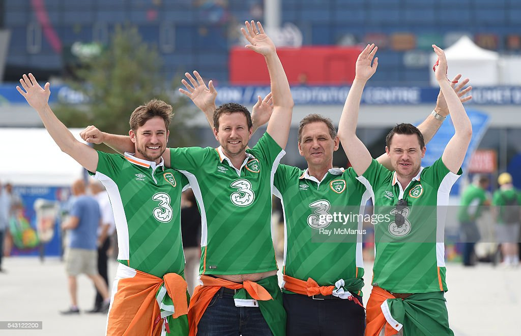 Lyon , France - 26 June 2016; Republic of Ireland supporters Keith, Richard and Gerard Egan, from Dún Laoghaire, with their friend Michael Toohey from Neenagh, Co. Tipperary, ahead of the UEFA Euro 2016 Round of 16 match between France and Republic of Ireland at Stade des Lumieres in Lyon, France.