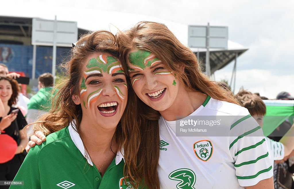Lyon , France - 26 June 2016; Republic of Ireland supporters Louise Hannon, from Castleknock, Dublin, and Lisa Dunne from Leopardstown, Dublin, ahead of the UEFA Euro 2016 Round of 16 match between France and Republic of Ireland at Stade des Lumieres in Lyon, France.