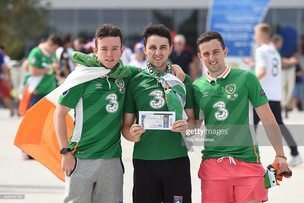 Lyon , France - 26 June 2016; Republic of Ireland supporters Pádraid Doyle, Jason and Tommy O'Sullivan from Kilarney after collecting their tickets ahead of the UEFA Euro 2016 Round of 16 match between France and Republic of Ireland at Stade des Lumieres in Lyon, France. via Getty Images)