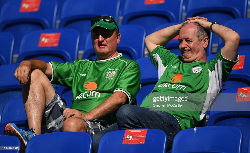 Lyon , France - 26 June 2016; Republic of Ireland supporters relax in the stadium after defeat in the UEFA Euro 2016 Round of 16 match between France and Republic of Ireland at Stade des Lumieres in Lyon, France.