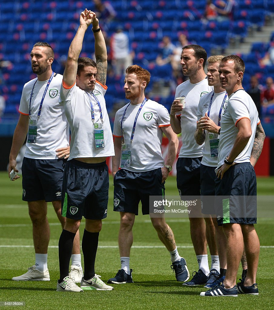 Lyon , France - 26 June 2016; Republic of Irelands players on the bench ahead of the UEFA Euro 2016 Round of 16 match between France and Republic of Ireland at Stade des Lumieres in Lyon, France.
