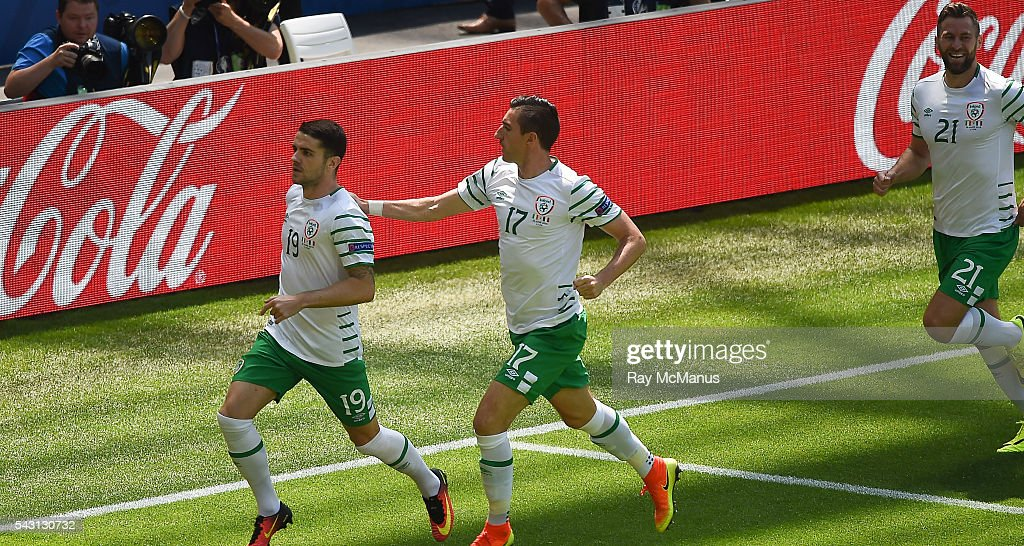 Lyon , France - 26 June 2016; Republic of Ireland's <a gi-track='captionPersonalityLinkClicked' href=/galleries/search?phrase=Robbie+Brady&family=editorial&specificpeople=9028769 ng-click='$event.stopPropagation()'>Robbie Brady</a> celebrates after scoring the opening goal in the UEFA Euro 2016 Round of 16 match between France and Republic of Ireland at Stade des Lumieres in Lyon, France.