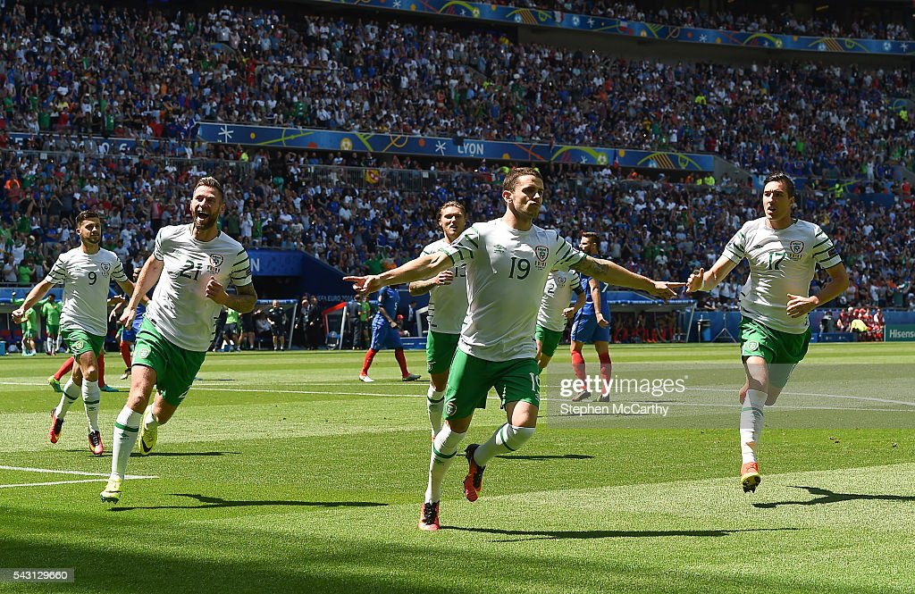 Lyon , France - 26 June 2016; <a gi-track='captionPersonalityLinkClicked' href=/galleries/search?phrase=Robbie+Brady&family=editorial&specificpeople=9028769 ng-click='$event.stopPropagation()'>Robbie Brady</a> of Republic of Ireland celebrates after scoring his side's first goal of the game from the penalty spot during the UEFA Euro 2016 Round of 16 match between France and Republic of Ireland at Stade des Lumieres in Lyon, France.
