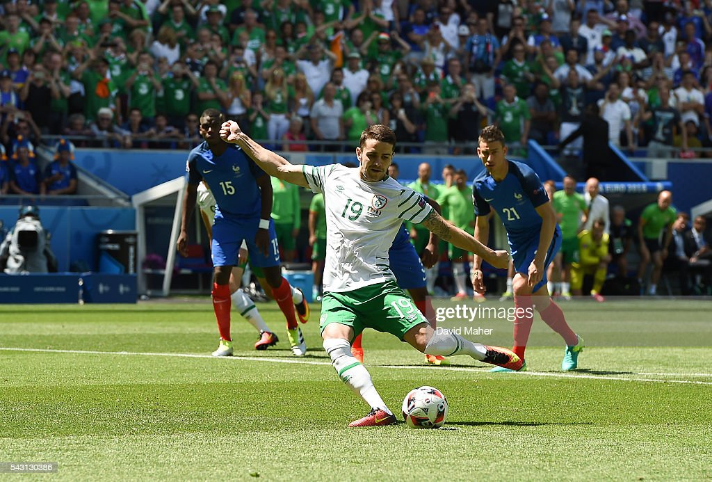 Lyon , France - 26 June 2016; <a gi-track='captionPersonalityLinkClicked' href=/galleries/search?phrase=Robbie+Brady&family=editorial&specificpeople=9028769 ng-click='$event.stopPropagation()'>Robbie Brady</a> of the Republic of Ireland scores the opening goal in the UEFA Euro 2016 Round of 16 match between France and Republic of Ireland at Stade des Lumieres in Lyon, France.