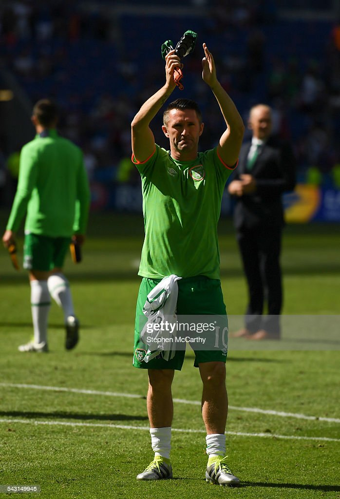 Lyon , France - 26 June 2016; <a gi-track='captionPersonalityLinkClicked' href=/galleries/search?phrase=Robbie+Keane&family=editorial&specificpeople=171824 ng-click='$event.stopPropagation()'>Robbie Keane</a> of Republic of Ireland following the UEFA Euro 2016 Round of 16 match between France and Republic of Ireland at Stade des Lumieres in Lyon, France.