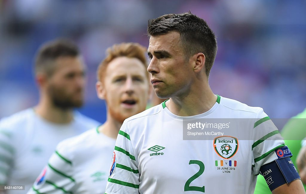 Lyon , France - 26 June 2016; <a gi-track='captionPersonalityLinkClicked' href=/galleries/search?phrase=Seamus+Coleman&family=editorial&specificpeople=6005260 ng-click='$event.stopPropagation()'>Seamus Coleman</a> of the Republic of Ireland dejected after defeat to France in the UEFA Euro 2016 Round of 16 match between France and Republic of Ireland at Stade des Lumieres in Lyon, France.
