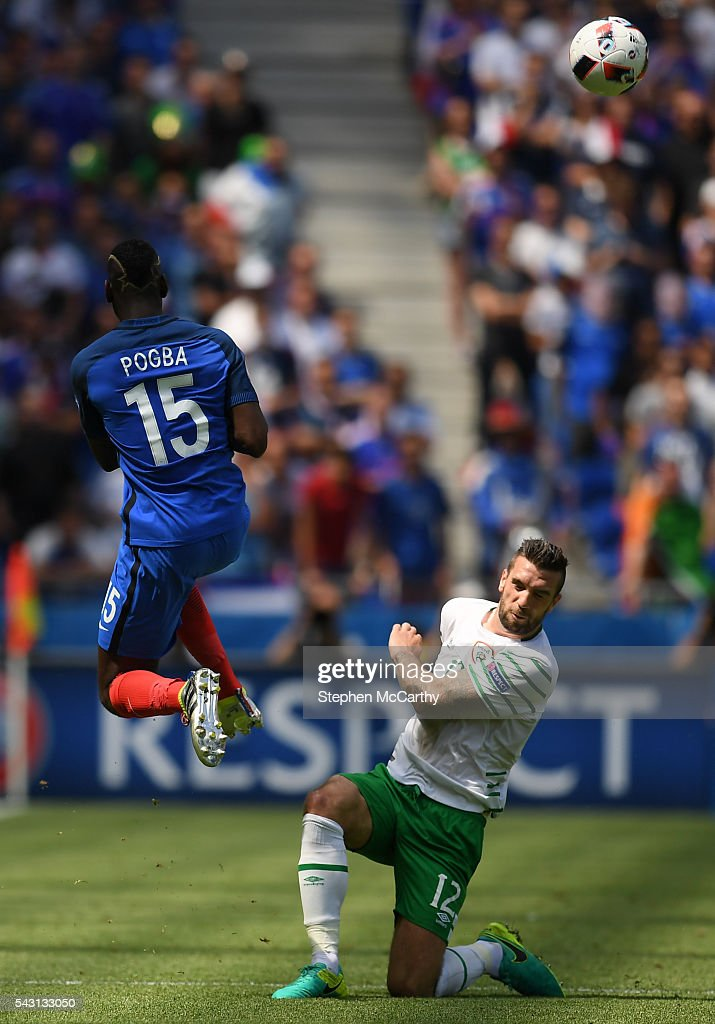 Lyon , France - 26 June 2016; Shane Duffy of Republic of Ireland in action against Paul Pogba of France during the UEFA Euro 2016 Round of 16 match between France and Republic of Ireland at Stade des Lumieres in Lyon, France.