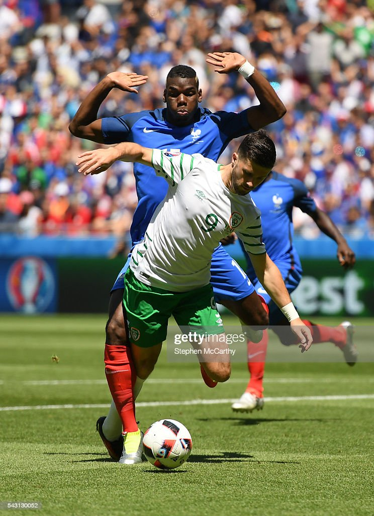 Lyon , France - 26 June 2016; <a gi-track='captionPersonalityLinkClicked' href=/galleries/search?phrase=Shane+Long&family=editorial&specificpeople=661194 ng-click='$event.stopPropagation()'>Shane Long</a> of the Republc of Ireland is fouled by Paul Pogba of France for a penalty in the UEFA Euro 2016 Round of 16 match between France and Republic of Ireland at Stade des Lumieres in Lyon, France.